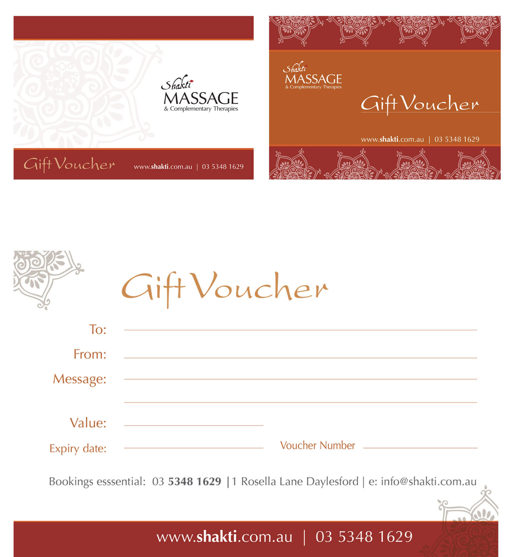 Gift Vouchers from Shakti Massage - Daylesford