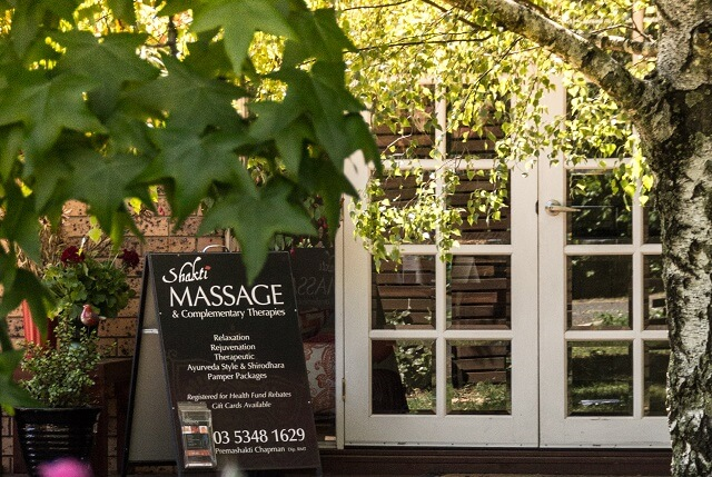Outside of Shakti Massage in Daylesford they provide gift vouchers & pamper packages
